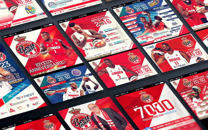 Social media design AS Monaco Basket