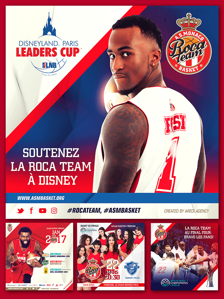 A.S. Monaco Basket social media design season 2016-2017