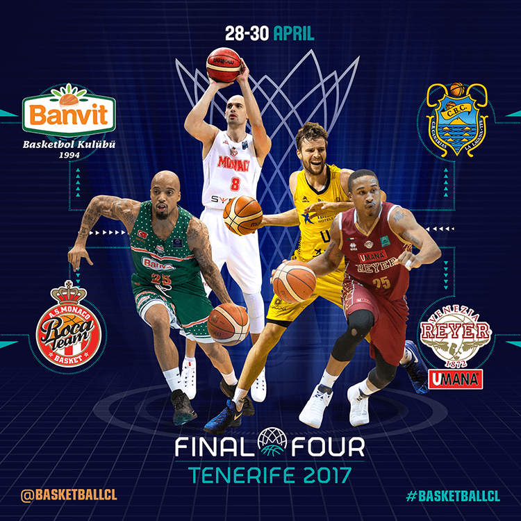 Basketball Champions League social media design | BCL Final Four team leaders
